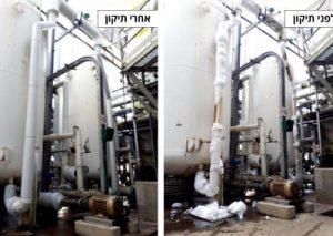 ביצוע החלפת בידוד ישן במפעל פטרוכימי באשדוד